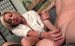 Busty mature tugging hard dick passionately