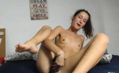 Teen in pretty pink panties masturbates her cunt
