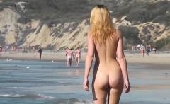 big tits blonde babe amateur nudist beach voyeur video
