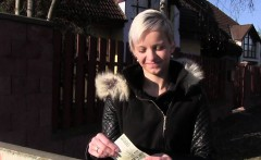 Euro blonde bangs huge cock for money