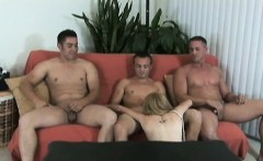 Horny blonde chick getting four dick fuck fest at home