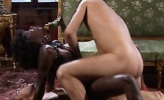 African honey gets filled by two cocks in threesome