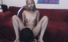 Ebony lesbian babe finger and lick pussy before scissoring