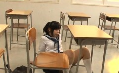 Pretty asian schoolgirl shows hairy pussy and rides schlong