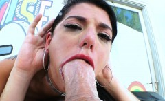 Naughty brunette slut pleasures big rod