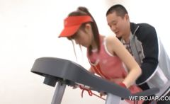 Asian girl cunt teased by sports coach
