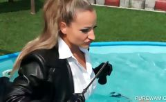 Lesbo slaves show wet bodies in pool