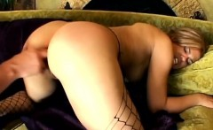 Anal whore in hot black fishnets gets asshole fingered and
