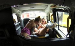 female fake taxi steamy lesbian pussy licking action in taxi