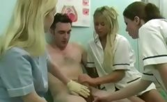 These slutty nurses have the remedy for what he suffers from