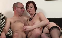 Mature stockings fucking and sucking for lucky guy