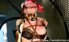Binded submissive gets flogged