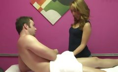 Asian masseuse is buffing the knob