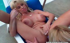 Two busty blonde lesbian sluts fuck each