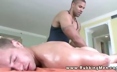 Straight gets horny during massage and sucks dick