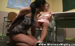 Dominant LEZDOM teacher plays with sub