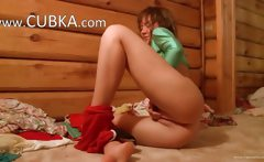 Hot russian shows pink vagina on camera