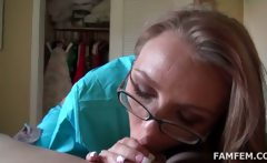 blondie in glasses giving blowjob in bed in pov