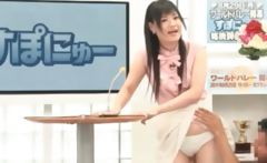 Sweet asian TV host gets cunt teased upskirt in a show