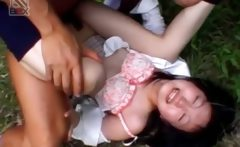 Asian teen sex slave gets hairy cunt nailed upskirt