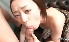 Sexy asian in pantyhose giving fellatio in close-up