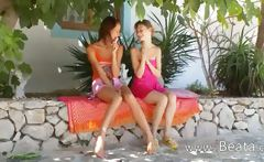 Two serbian lesbian girls dildoing