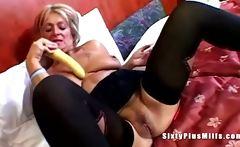 Big tit granny toying pussy