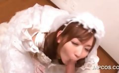 Asian bride sucking loaded shaft in POV style