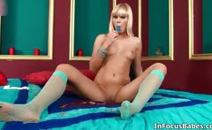 Nasty blonde whore goes crazy rubbing