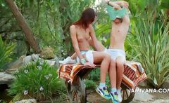 Teen lesbos Ivana and Natasha kissing outdoor