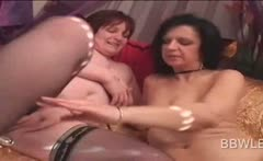 BBW lesbo hotties using sex toys to please cunts