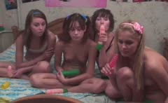 Four russian girls in live show
