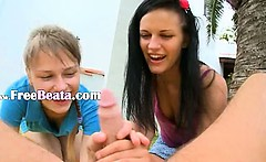 Two girlfriends Beata and Mia eat me