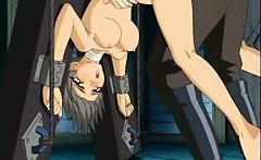 Hentai sex prisoner in chains masturbating cunt in the cell