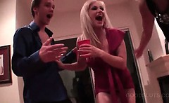 College sexy girls drinking and fucking at a hot orgy party