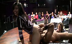 Girl cummed in face during male strip show