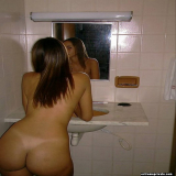 Bending over amateurs in intimate home snapshots