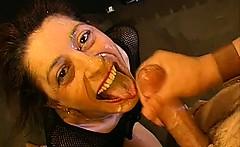 Enjoyable face filled with glazy semen