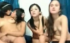 Four Teen Lesbians Teasing Fingering and Playing on Cam