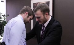 Muscular office hunk seduced by his boss