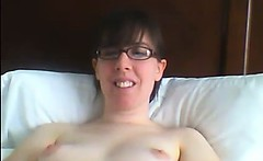 Hot nerdy milf plays with her hairy pussy