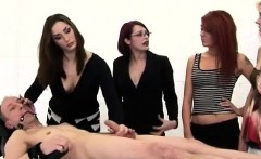 British ladies use CFNM guy for femdom practice