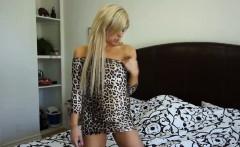Petite blonde Tara Morgan finger bangs her pussy