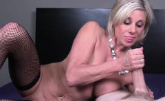Glamour granny tugging cock pov in lingerie
