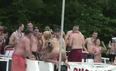 many Teens dancing nude at public party
