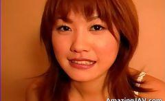 Cute asian babe masturbating her amazing