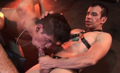 Old dom rims and throats his bound kneeling sub