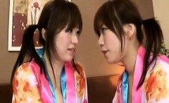 Asian lesbians in kimonos fingering pussies in close up acti
