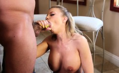 Busty housewife enjoys sucking slobbery dick