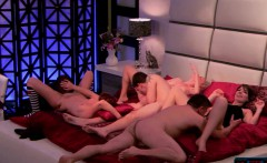 Handsome couples playing games and having a steamy orgy